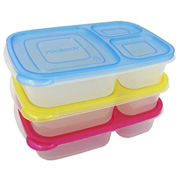 FIXBODY 3-Compartment Bento Lunch Box Containers for Kids u0026 Adults Multi Color Containers with  sc 1 st  Amazon.com & Amazon.com: FIXBODY 3-Compartment Bento Lunch Box Containers for ... Aboutintivar.Com
