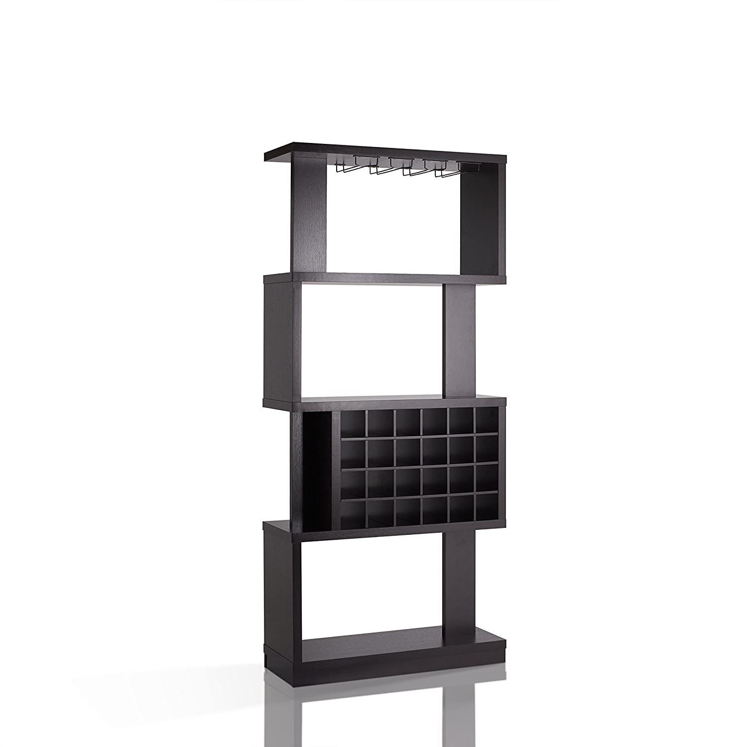 HOMES: Inside + Out IDI-14989 Cappuccino Contemporary Larson Wine Stand Furniture of America
