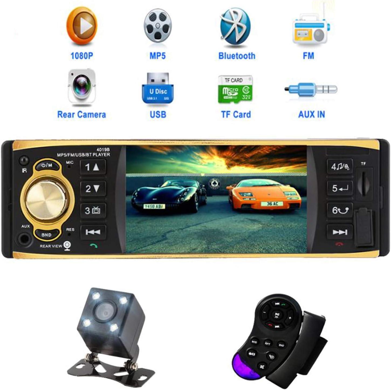4.1 inch Car Radio Audio Stereo AUX FM Radio Station Bluetooth Autoradio with Rearview Camera Remote Control