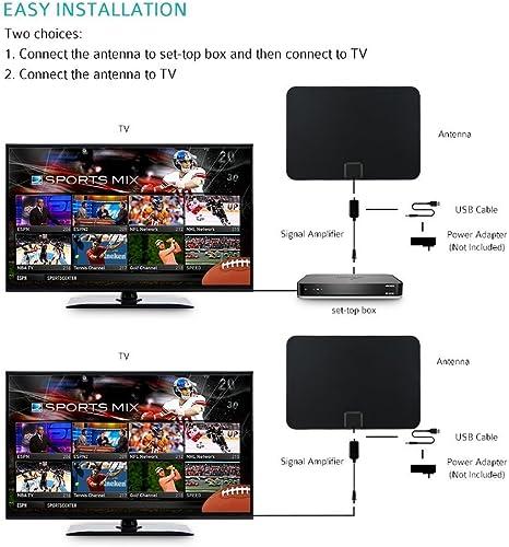 Antena TV Interior Portátil, VICTSING Amplificador Antena TV Digital, 80KM Gama de Recepción, 3M Cable Alto Rendimiento,Ultra Delgado Amplificador de Señal Removible, Duraderos y Resistentes- Negro: Amazon.es: Electrónica