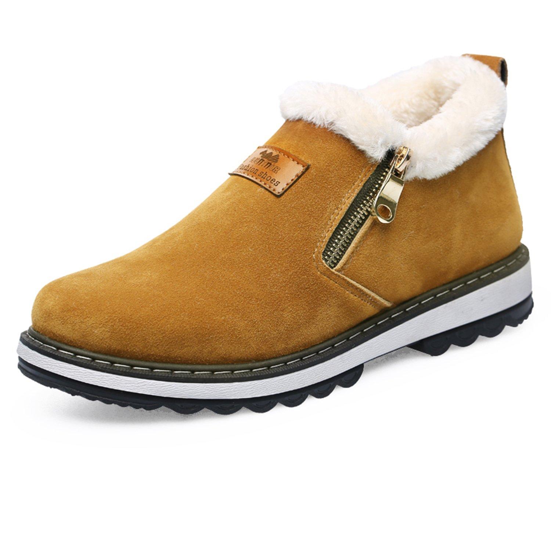 Men's Fur Lined Snow Boot Side Zipper Ankle High Top Anti-slip Cotton Shoes:  Amazon.co.uk: Shoes & Bags