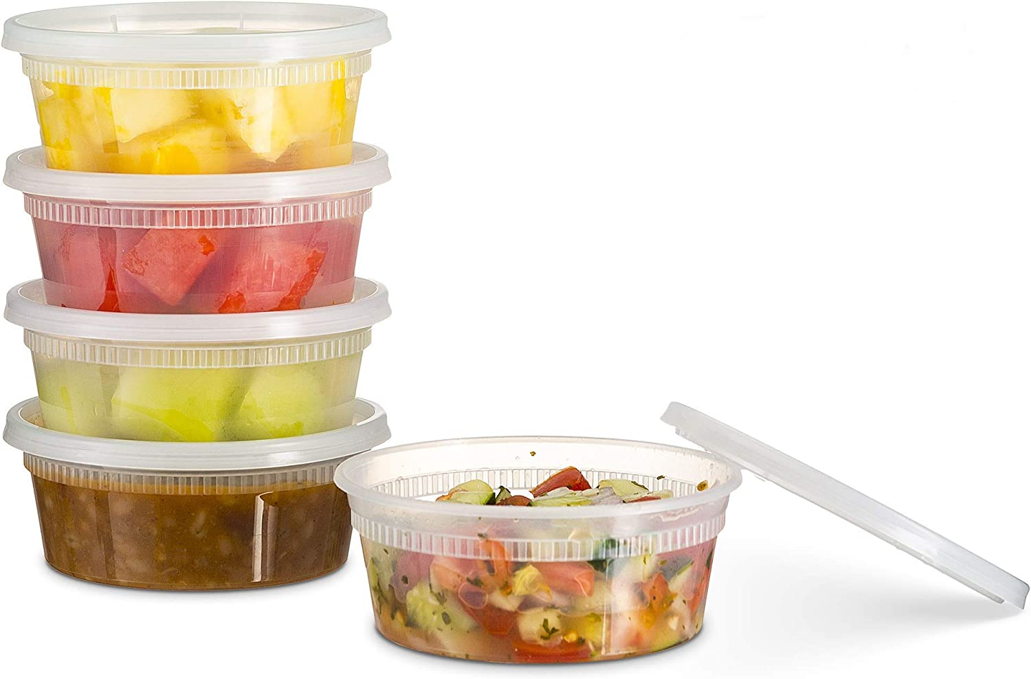 [24 Count 8 Oz Combo] Basix Disposable plastic Deli Food Storage Containers With Plastic Lids, Leakproof, Great For Meal Prep, Picnic, Take Out, traveling, Fruits, Snack, or Liquids