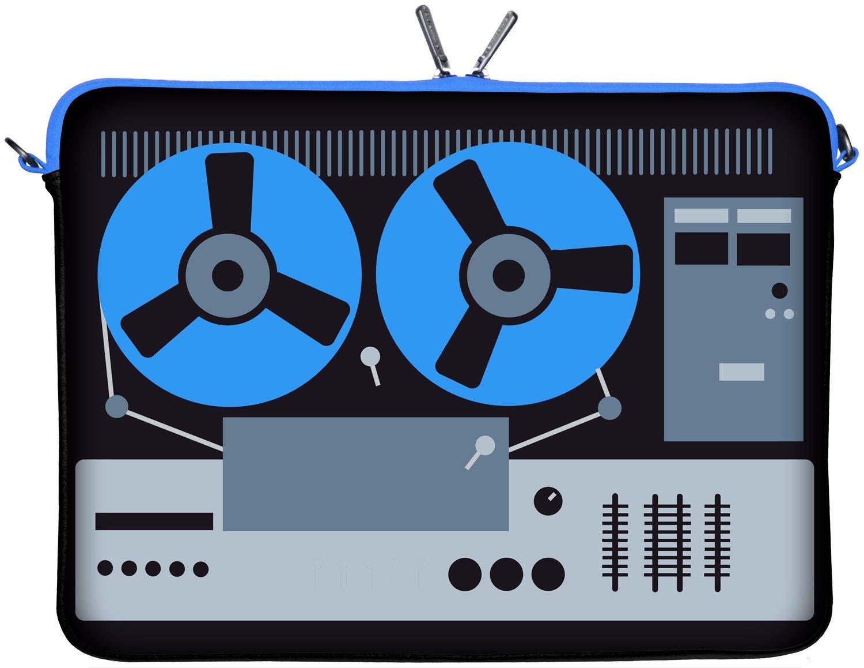 Digittrade LS131-17 DeeJay - Funda de neopreno para portátiles de hasta 43,9 cm (17,3 pulgadas), color negro, gris y azul con diseño de tocadiscos