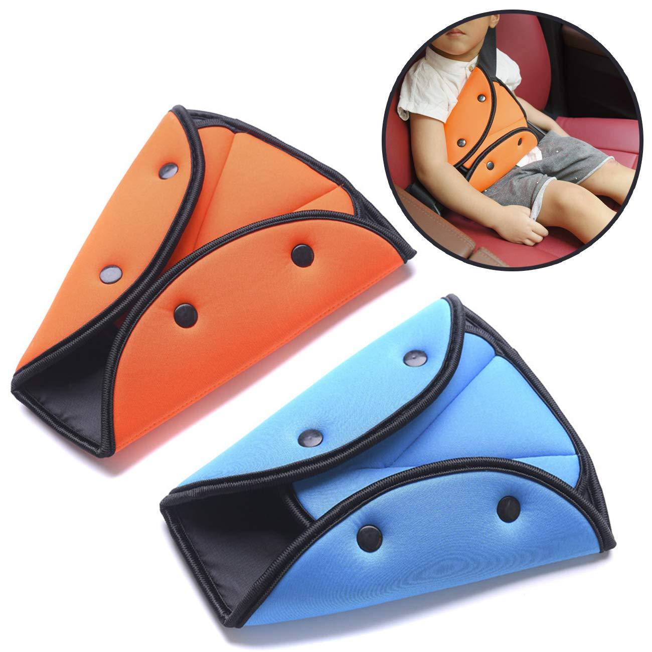 TinaWood [2-Pack] Seat Belt Adjuster for Kids, Seat Belt Positioner Seat Belt Safety Covers Seat Belts Protection (Orange & Blue)