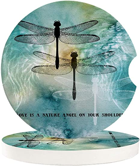 Amazon Com Absorbent Stone Car Coasters For Drinks Love Is A Nature Angel On Your Shoulder Ink Dtyle Dragonfly Pattern 2 56 Inches Car Accessories With Absorbent Coasters With Cork Coasters