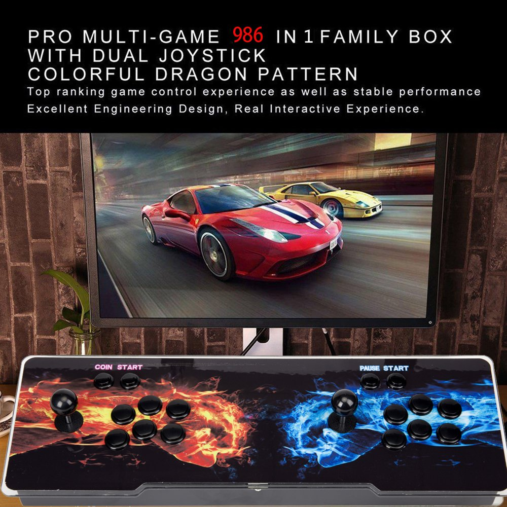 Ultra Slim Metal Double Joystick and Buttons Arcade Game Console 986 Classic Games Machine Pandora's Box 5S