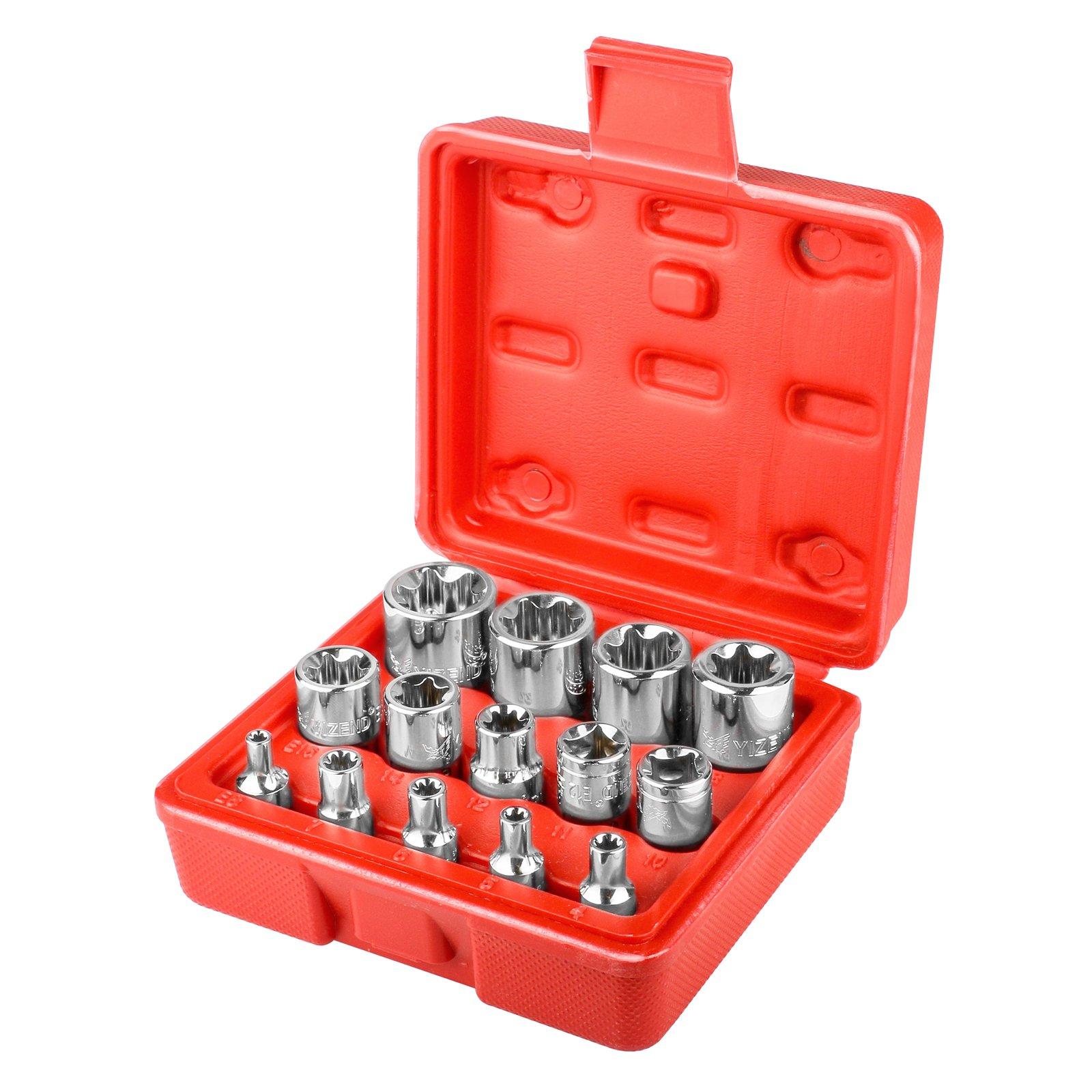 14 PCS Female Torx Bit Star-Shaped Socket Set 1/4, 3/8, 1/2 inch drive E4 - E24(4MM-24MM) Car Repair Tool