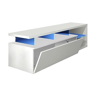 Habitdesign 026630BO - Modulo de TV Moderno, Mueble Salon, Color Blanco Brillo y Luces LED, Medidas: 150x41x43 cm de Altura