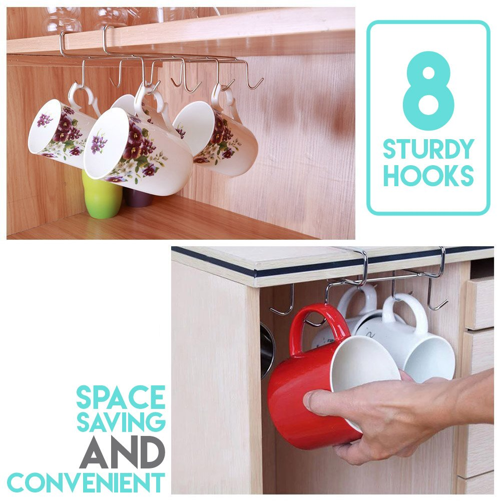 Up Mug Rack | Multiuse Space-Saving Under-the-Shelf Mug Holder Hanging Rack Organizer with 8 Hooks | Durable Rustproof Stainless Steel for Glass Cup Cabinet Pantry Kitchen Tool Storage