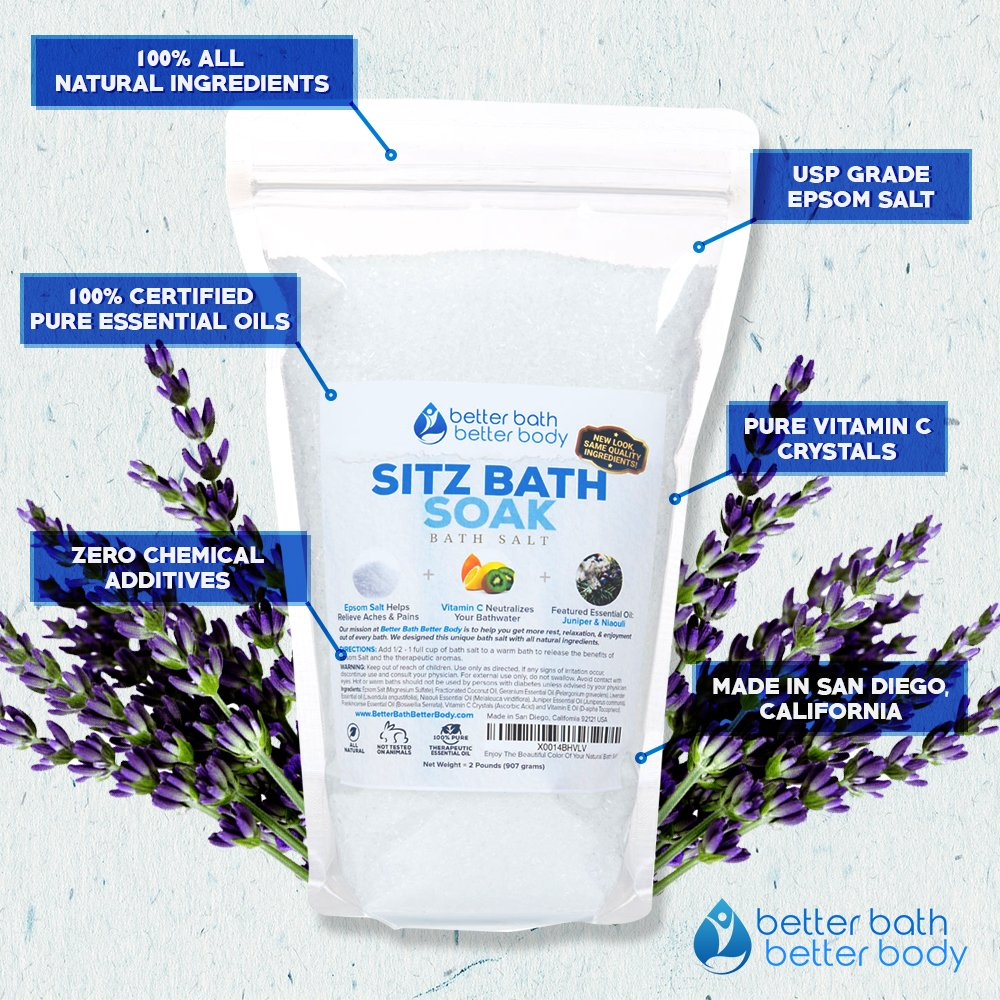 Sitz Bath Soak 8-Lbs (128oz) Epsom Salt With Niaouli, Geranium, Lavender,  Frankincense, Juniper Essential Oils & Vitamin C Crystals - All Natural