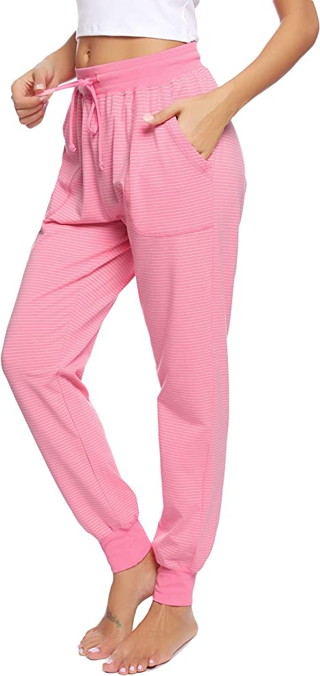 Hawiton Pantalones de Pijama Mujer Algodón Largo Pantalón ...