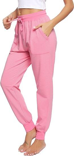 Hawiton Pantalones de Pijama Mujer Algodón Largo Pantalón Pijama ...