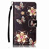 Sony Xperia XA case [With Tempered Glass Screen Protector],Grandoin Retro Leather Folio Bumper Case ,Excellent Quality Colorful Elegante Pattern Design Premium PU Closure Exact Fit Strap Leather Wallet Protective Flip Case Cover for Sony Xperia XA with [Credit Card Slots] Stand Holder Function(Black Flower)