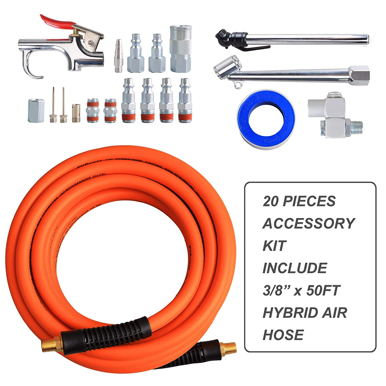 Air Compressor Hose Pipe Kit Attachments Tire Inflation Part Tool 25-Piece 50 ft