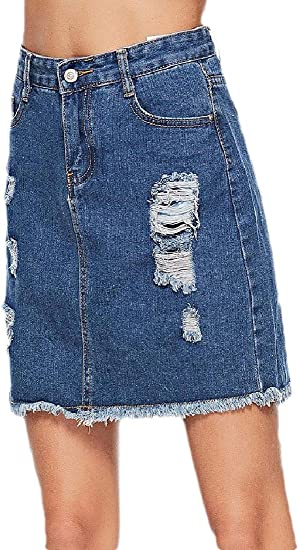 chenshiba-JP Women's Mid-Waisted Jean Casual Distressed Ripped High-Low Mini Washed Skirts