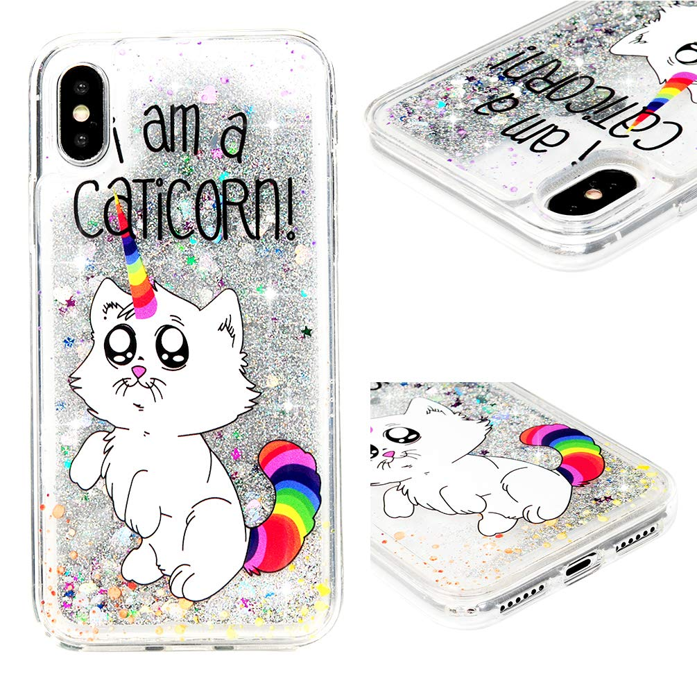 iPhone Xs Case, iPhone X Clear Liquid Glitter Quicksand Case Relief Bling Shiny Glitter Sparkle Flowing Moving Love Hearts Crystal Slim Shock Absorption TPU Bumper Drop Resistant Cover for iPhone Xs