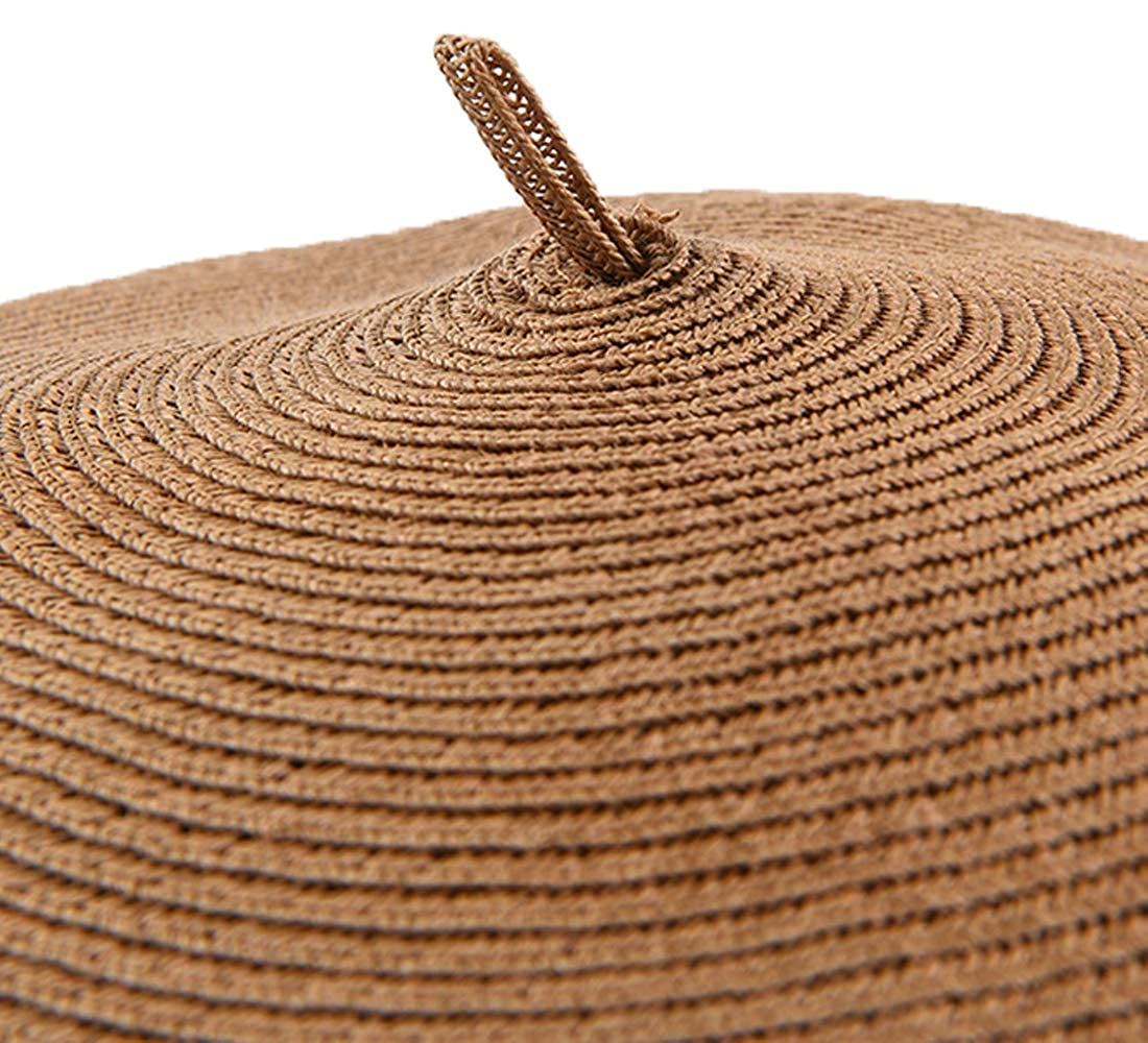 Joyhy Womens Solid Summer Breathable Straw Knitted Artist French Beret Hat