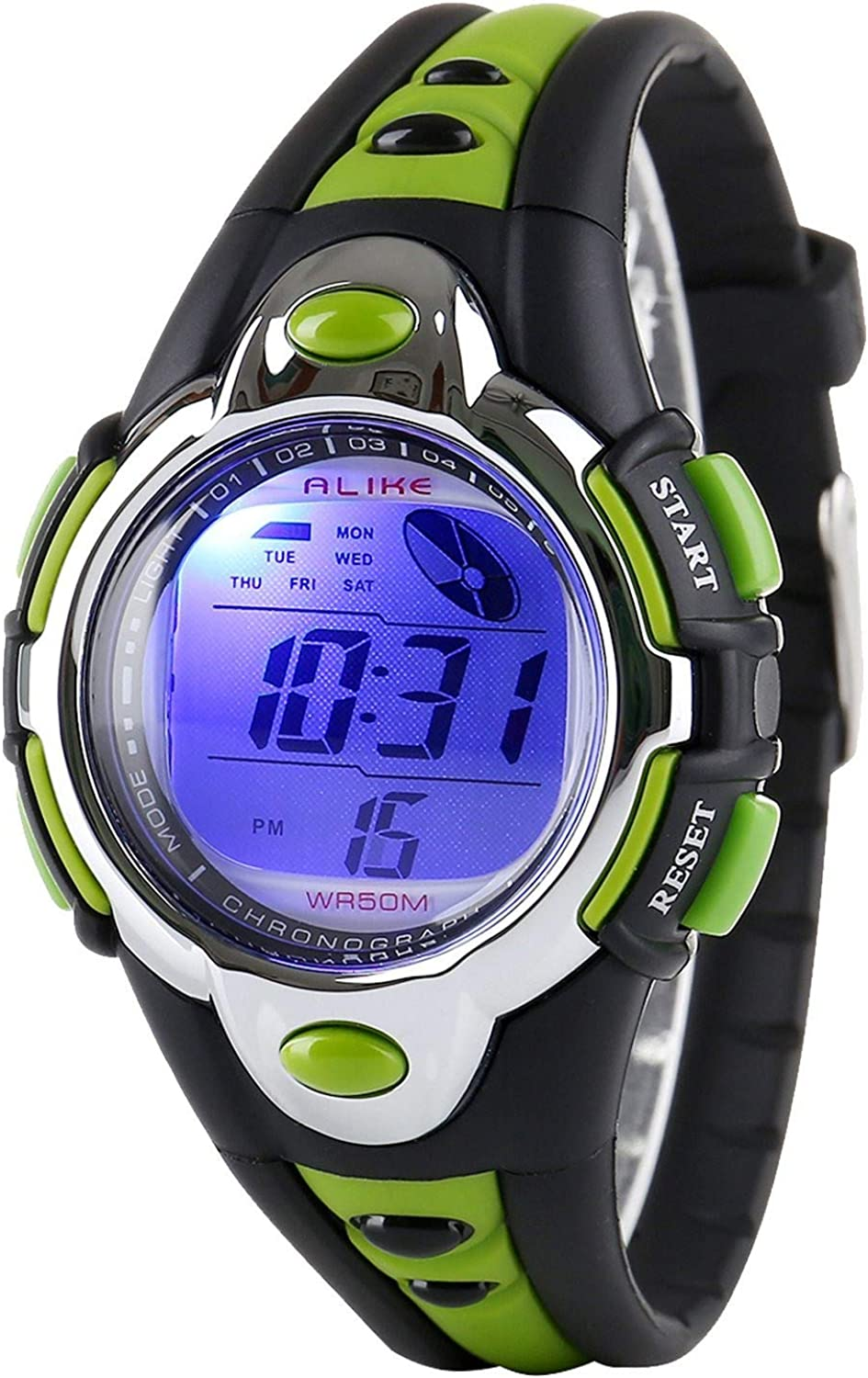 Kids Watches Flash Lights 50m Waterproof Chronograph Digital Sports Watch - Green Color: Watches