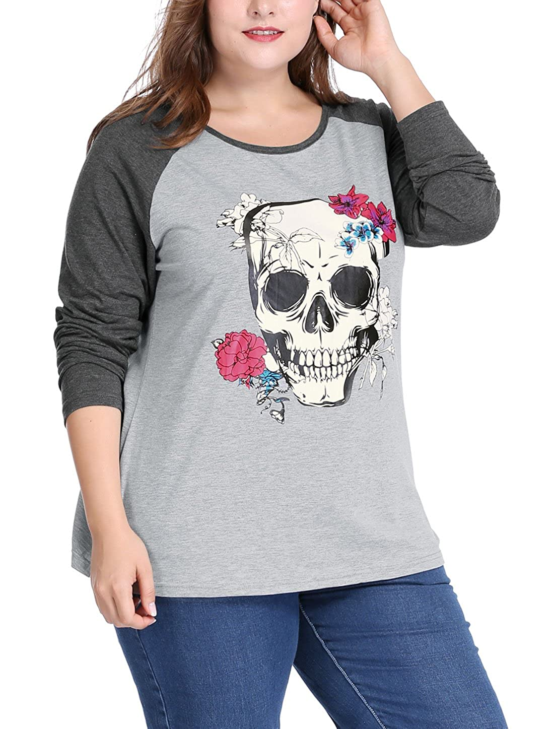 uxcell Women's Plus Size Floral Skull Contrast Color Raglan T-Shirt g16103100ux0012