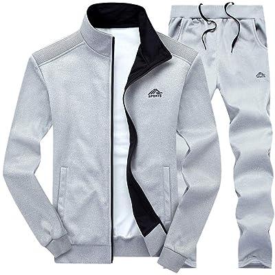 FEDULK Men's 2PCs Autumn Winter Sweatshirt Tops Pants Sets Casual Sport Suit Tracksuit at Men's Clothing store