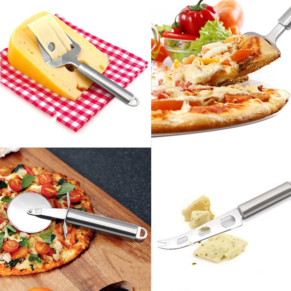 Knife Fork Set Stainless Steel Kitchen Pizza Wheel Cutter,Cake Shovel,Cheese slicer and Cheese Knife