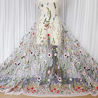 Lace Mesh Fabric Embroidered Floral 3D Flower DIY Dress Material Bridal Wedding