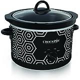 Crock-Pot 4.5-Quart Round Manual Slow Cooker, Black Damask Pattern