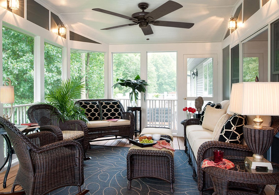 """Honeywell Belmar 52"""" Outdoor Ceiling Fan 6 QUALITY DESIGN: Features a bronze finish and 5 ETL damp rated fan blades. Perfect for outdoor patios, workshops, breezeways, gazebos, pergolas and other outdoor spaces. EASY CONTROLS: Traditional pull chains included for easy """"on and off"""" adjustments but this fan is also compatible with Honeywell ceiling fan remotes. QUIET REVERSIBLE MOTOR: Conveniently quiet, 3 speed, reversible motor that can be run in reverse in the winter to aid in rotating the warm air in the room."""