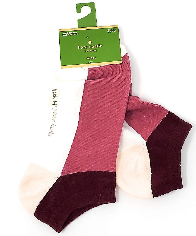 Kate Spade Colorblock Fox Glove No Show Socks,Pink//Burgundy Size 4-10