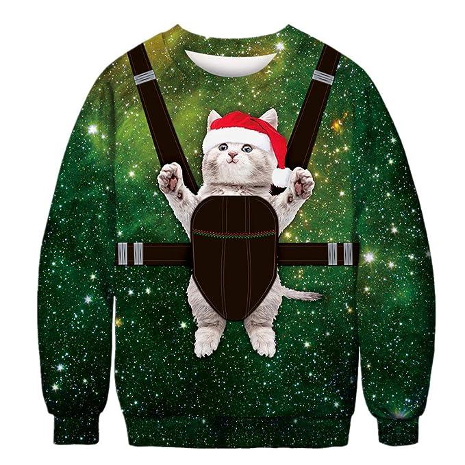 Morbuy Unisexo Sudaderas Navidad Hombre, Mujer 3D Impresas Otoño e Invierno Sin Sudadera con Capucha Larga Gato Sweater Pullover: Amazon.es: Ropa y ...