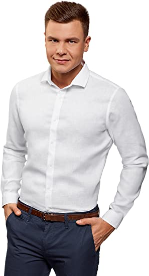 oodji Ultra Hombre Camisa Entallada de Lino, Blanco, сm 41 / ES 41 / M: Amazon.es: Ropa y accesorios