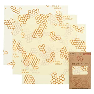 """Bee's Wrap Large 3 Pack, Eco Friendly Reusable Food Wraps, Sustainable Plastic Free Food Storage, Each Wrap Measures 13"""" x 14"""""""
