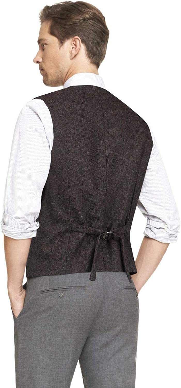 HISDERN Hommes Formelle Fete De Mariage 5 Boutons en Laine Gilet en Chevron Tweed Gilets Robe Costume Gilet