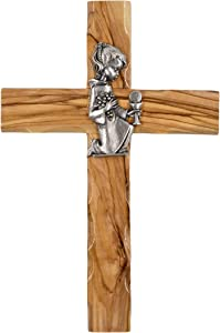 6 Inch Holy Land Cross - Olive Wood Wall Cross for Girls Hand Made in Bethlehem and Stamped with Jerusalem on The Back - Gift for Confirmation, First Communion and Baptism Cross for Girls