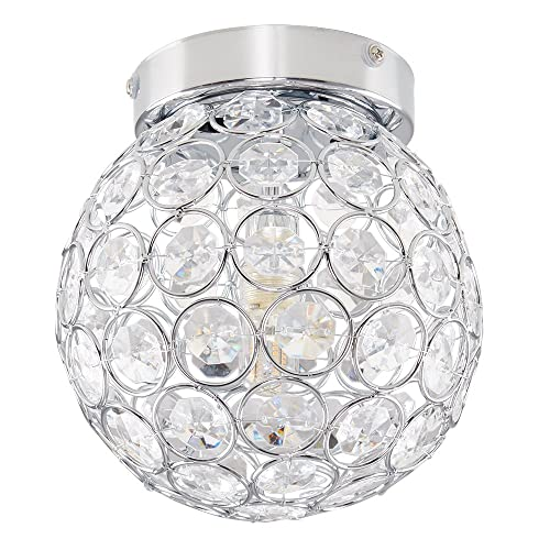 Modern Round Chrome & Clear Acrylic IP44 Rated Bathroom Ceiling ...