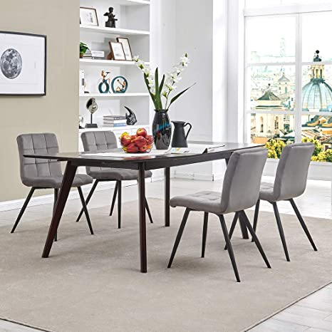 Dining Chair Accent Chair Set of 4 for Living Room, Side Chair Guest Chair  Velvet Fabric Ergonomic Padded Seat with Metal Legs Indoor Coffee Shop ...