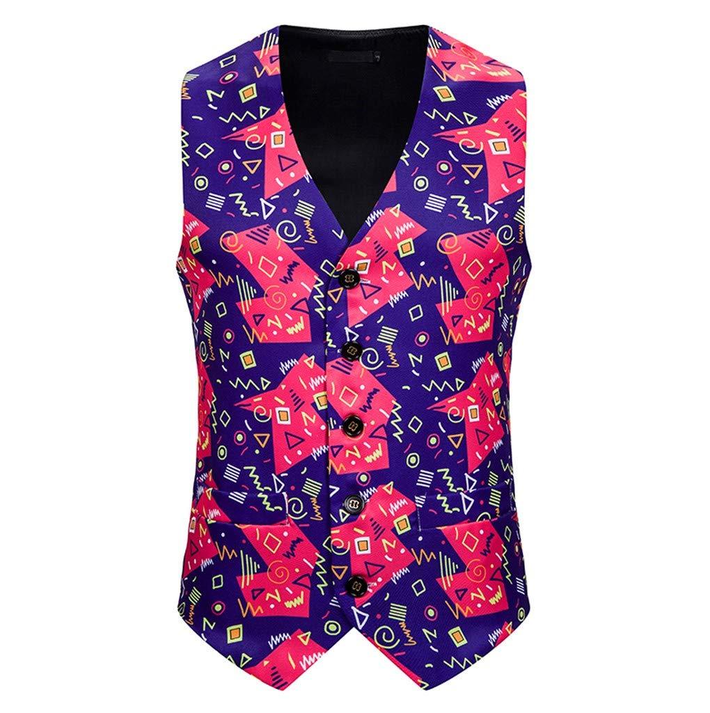 SHUSUEN Mens Christmas Vest Button Down Sleeveless Waistcoat Formal V Neck Outfit Jackets Purple by SHUSUEN