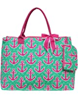 Ngil Quilted Cotton Extra Large Overnight Travel School Tote Bag