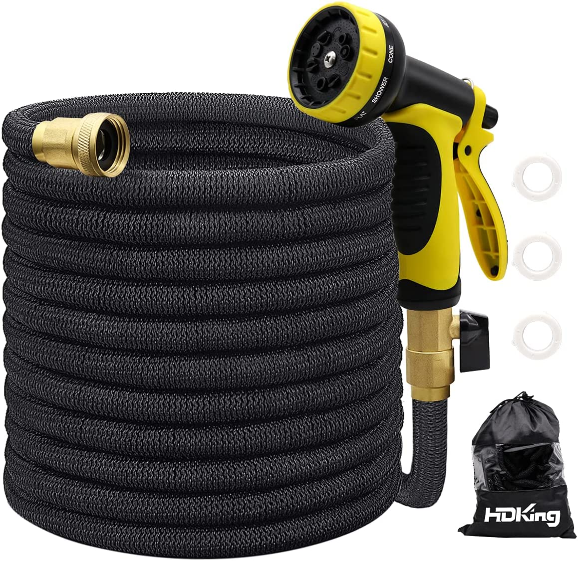 25FT Garden Hose Expandable, Water Collapsible Hose with 10 Function Spray Nozzle, Triple Latex Core, 3/4