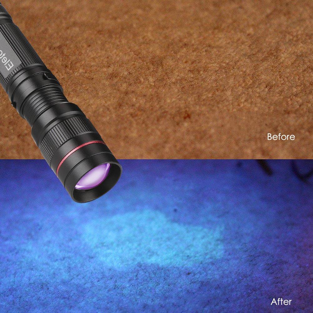 3 modes lumi/ère Chien//Chat D/étecteur durine Trouvez les taches sur le sol de v/êtements Tapis Tapis(4 PCS) Eletorot Torche UV LED Noir Lumi/ère Lampe torche ultraviolette 395nm Lumi/ères