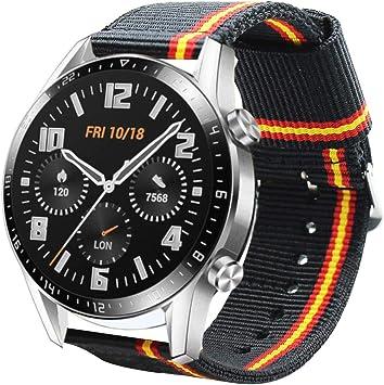 Estuyoya - Pulsera de Nailon Compatible con Huawei Watch GT 2 / Huawei Watch Sport/GT Classic/Fashion/GT Active 22mm Colores Bandera de España Transpirable Deportiva Elegante: Amazon.es: Electrónica