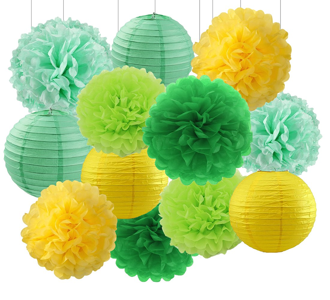 Spring Decorations Green Mint Yellow Hangings Decorations Kit with Tissue Paper Pom Poms Flowers and Paper Lanterns Wedding Decorations Baby Shower Decorations Birthday Party Favors