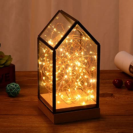 Fire Tree Silver Lantern Glass Lamp Nightstand Night Light LED ...