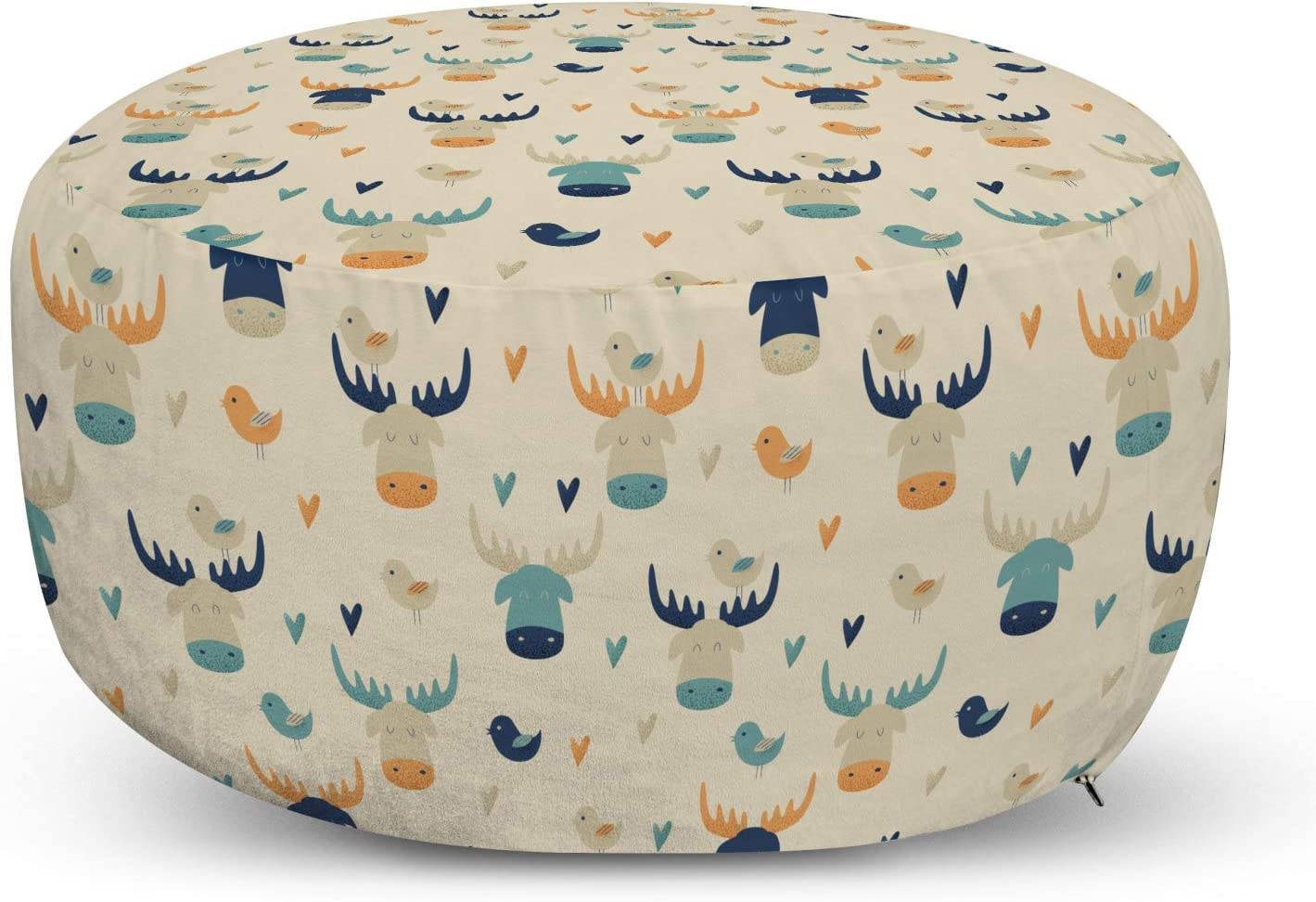 Lunarable Moose Ottoman Pouf, Illustration of Elk Heads Hearts and Birds in Repeated Pattern Art Print, Decorative Soft Foot Rest with Removable Cover Living Room and Bedroom, Beige Multicolor