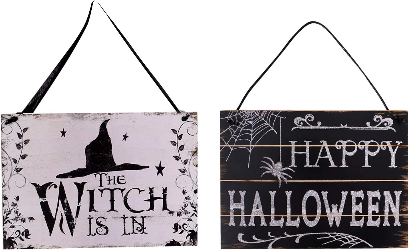 Ioffersuper 2Pcs Halloween Hanging Sign Wooden Plaque Board The Witch is in Sign Happy Halloween Sign for Haunted House Halloween Welcome Sign Front Porch Door Hanging Plaque Decoration