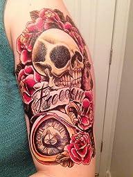 Amazon.com : Dalin 4 Sheets Temporary Tattoo, Skull, Bull
