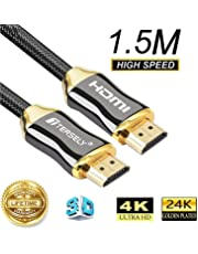 TERSELY 4K HDMI Cable, 1.5M HDMI Cable 2.0a/b High Speed HDR Ultra Full HD 4K@60Hz 4:4:4 Resolution 4096 * 2160 Nylon Zinc Alloy Hood Gold Plated Connector for PS4|Xbox 360|Mac|HDTV| Projector|TV Box