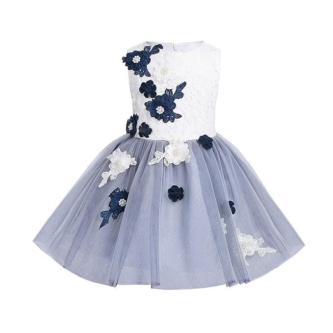 iiniim Vestido Niña Princesa Perla Elegante Desfile Encaje Flor Pétalos Ceremonia Fiesta Vestido Infantil Blanco Dama