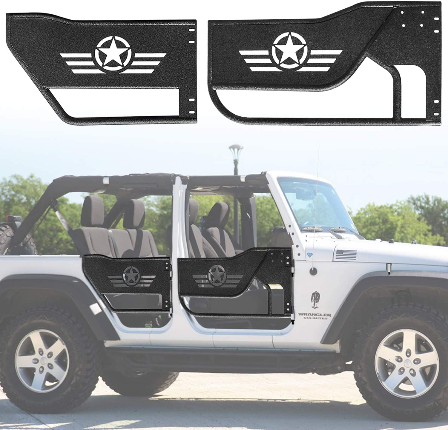 Stainless Steel Matte Black Dual Outlet Axle-Back Muffler Exhaust System Fits 2007-2017 Jeep Wrangler JK