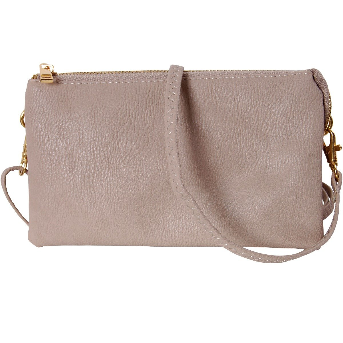 Humble Chic Vegan Leather Small Crossbody Bag or Wristlet Clutch Purse, Includes Adjustable Shoulder and Wrist Straps, Tan, Nude, Beige